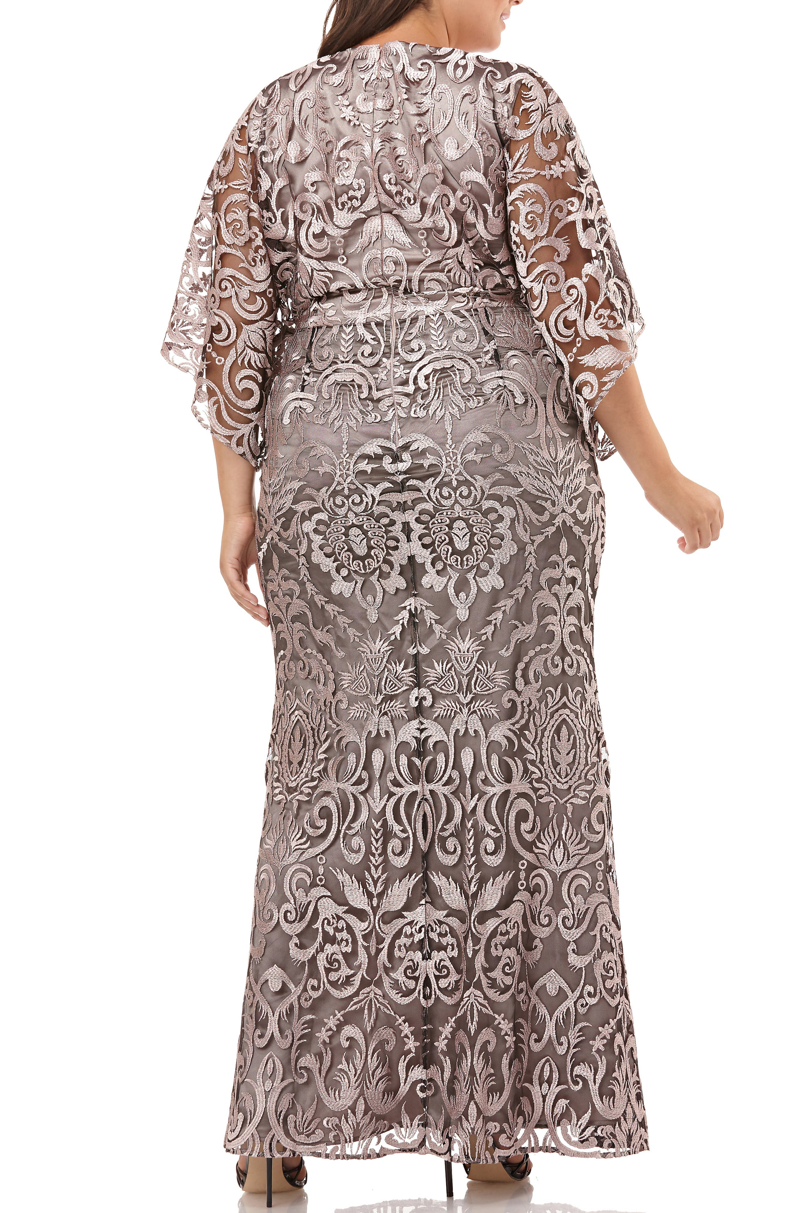 ,                             Embroidered Lace Evening Dress,                             Alternate thumbnail 2, color,                             SHELL PINK