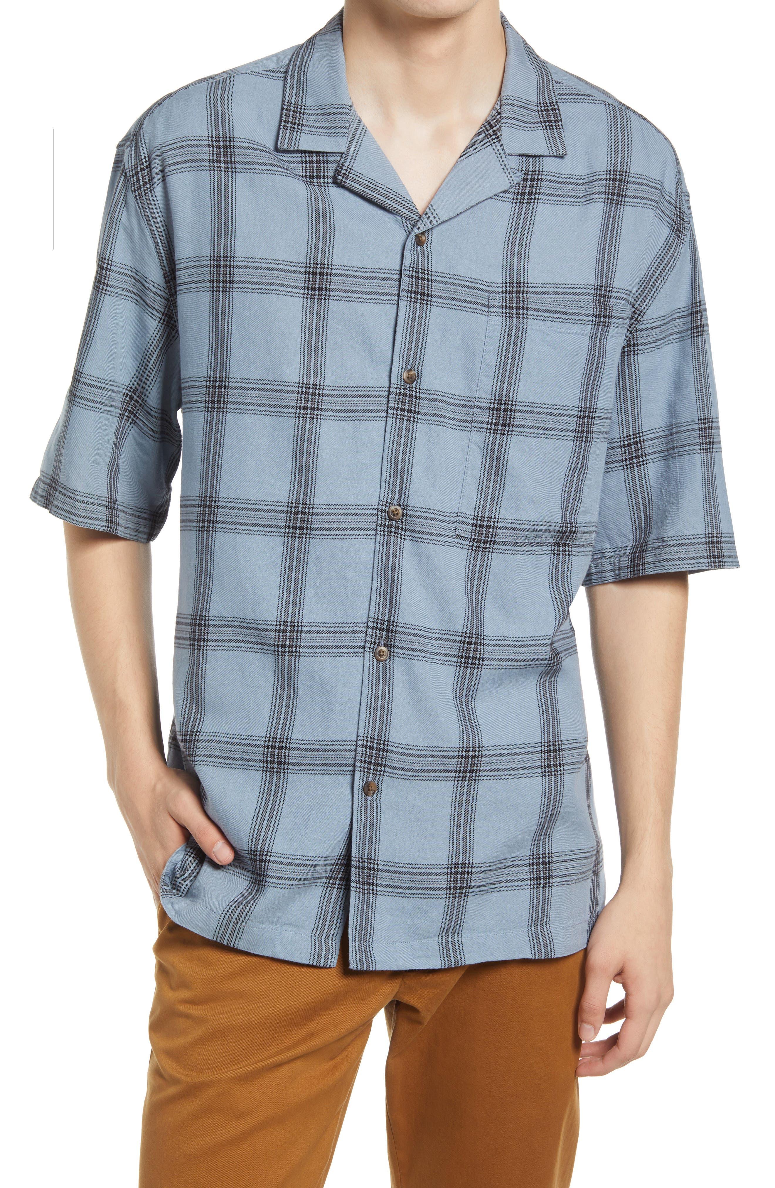 1950s Mens Shirts   Retro Bowling Shirts, Vintage Hawaiian Shirts Mens Topman Boxy Check Short Sleeve Button-Up Camp Shirt Size Medium - Blue $45.00 AT vintagedancer.com