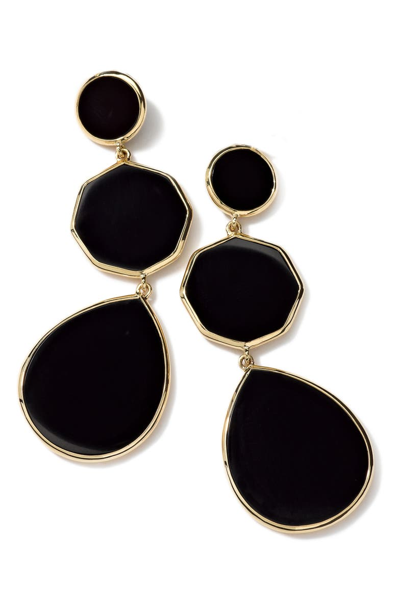 IPPOLITA Rock Candy Drop Earrings, Main, color, GOLD/ BLACK ONYX