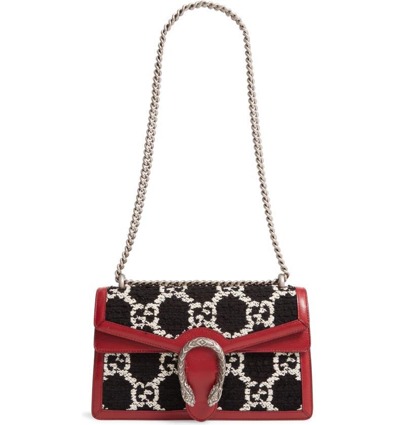 GUCCI Small Dionysus GG Tweed Shoulder Bag, Main, color, BLACK NATURAL/ ROMANTIC CERISE