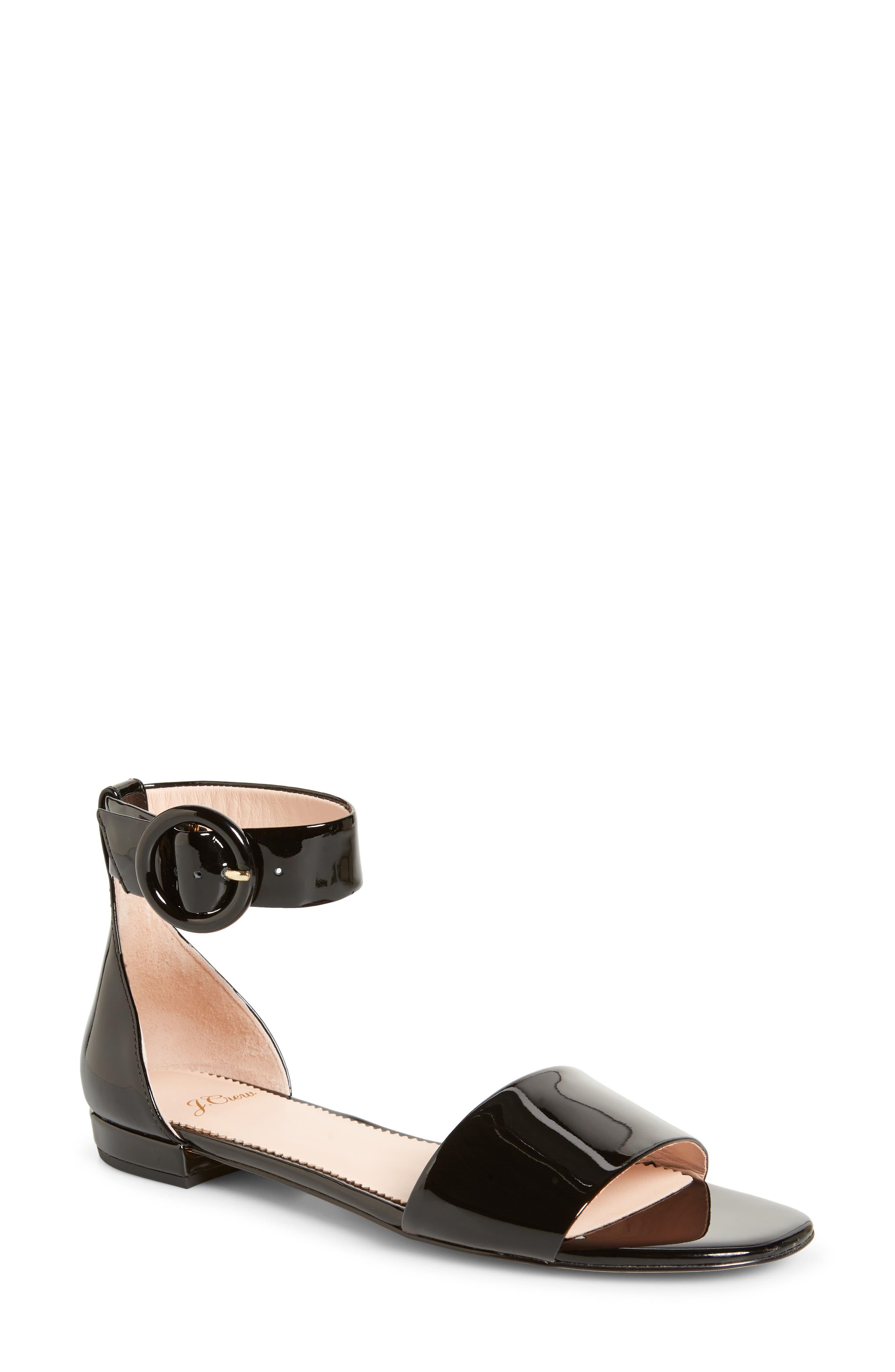 ,                             Ankle Strap Flat Sandal,                             Main thumbnail 1, color,                             001