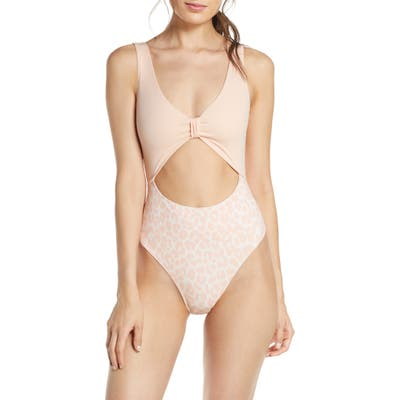 Something Navy One-Piece Cutout Swimsuit, Pink (Nordstrom Exclusive)