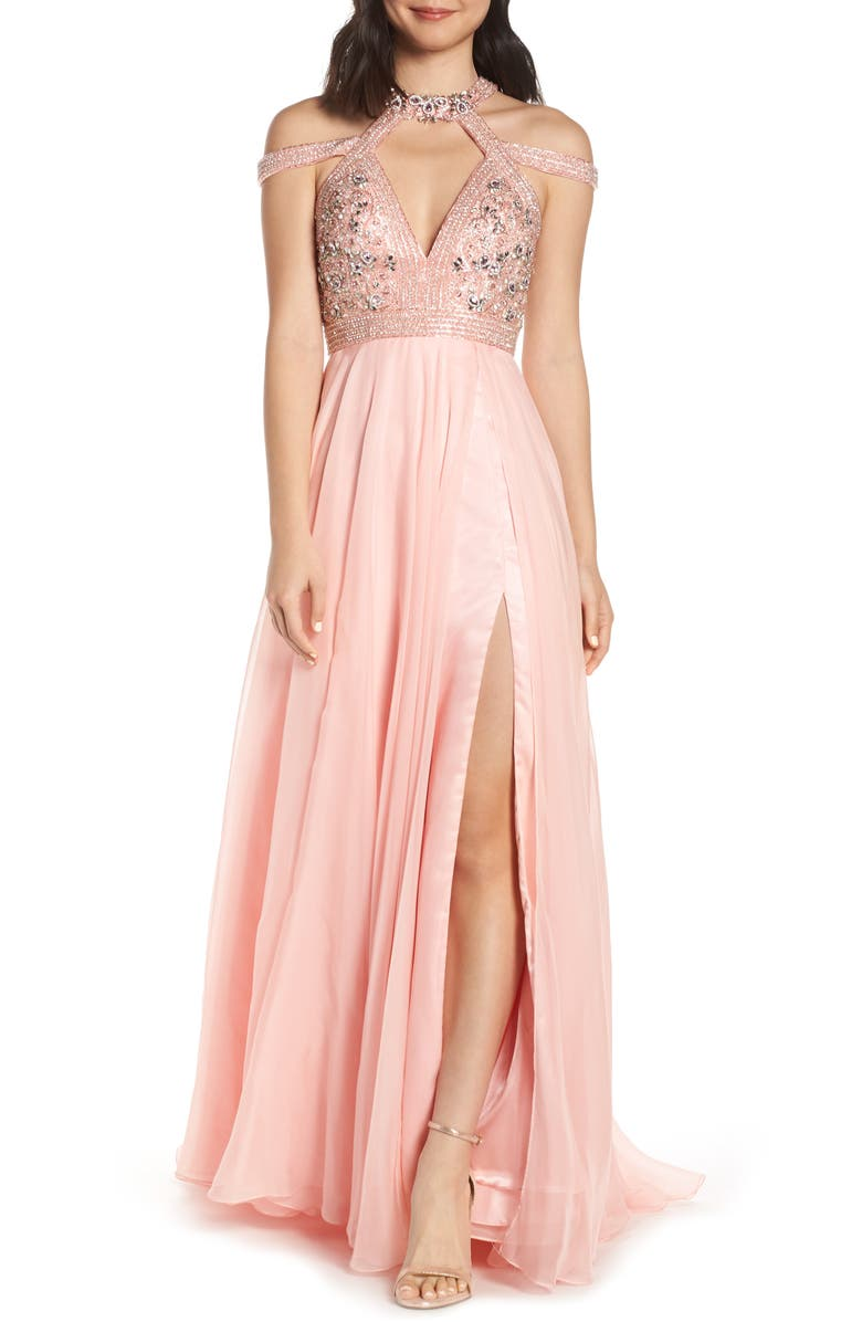 MAC DUGGAL Strappy Beaded Bodice Chiffon Evening Dress, Main, color, BLUSH