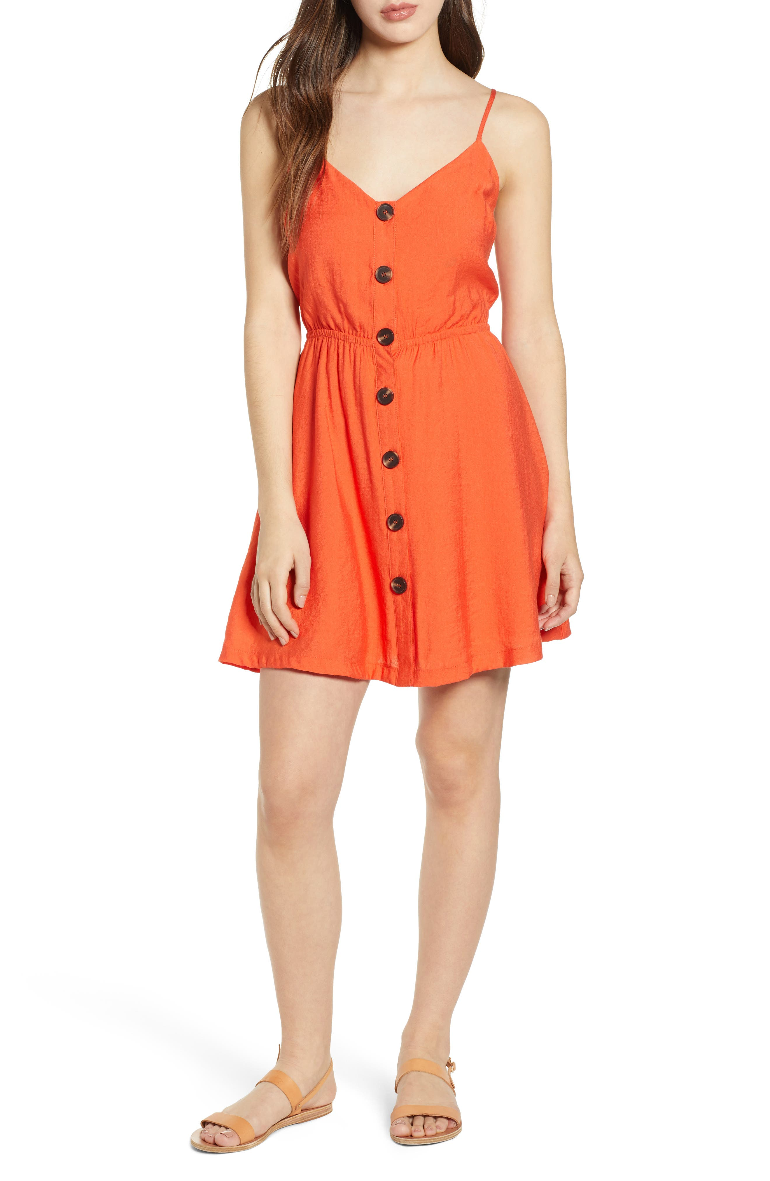 All In Favor Tie Back Button Front Sundress, Red