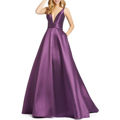 Ieena For MAC Duggal Plunging Sweetheart Neck Ballgown, Purple