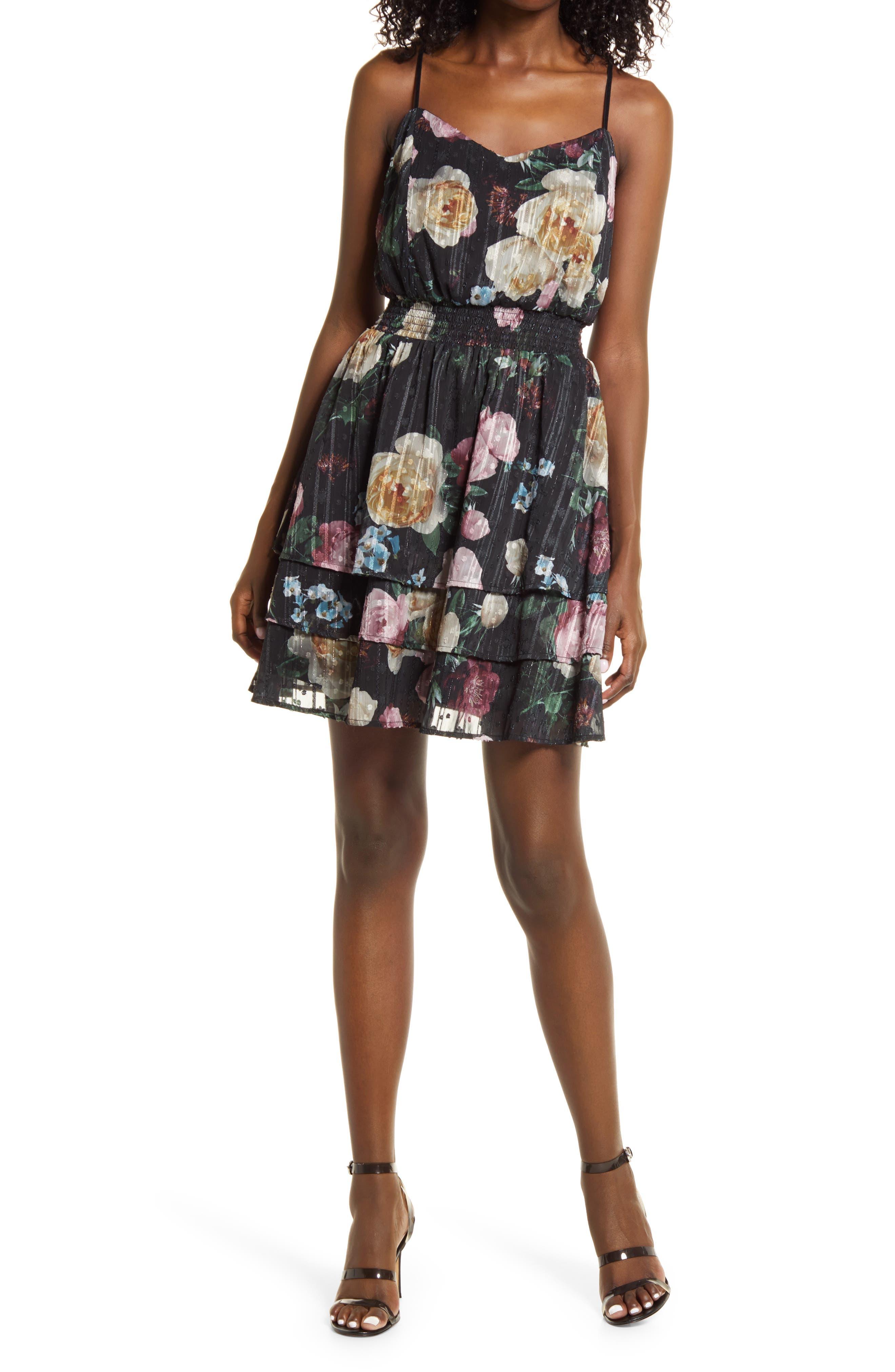 Floral Metallic Stripe Smock Waist Chiffon Minidress