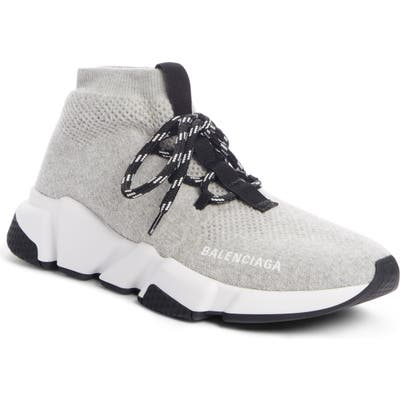Balenciaga Mid Speed Lace-Up Sneaker, Grey