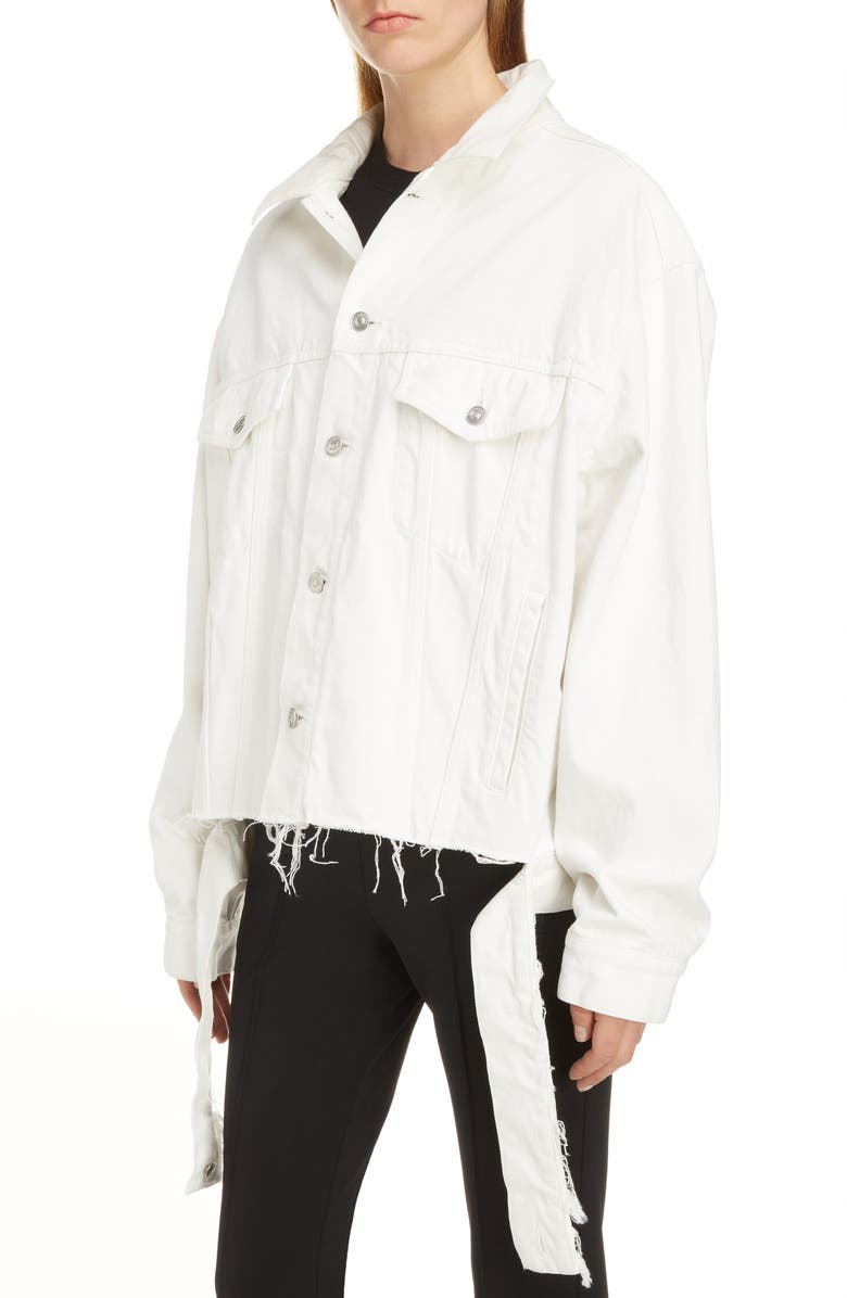 BALENCIAGA Cut Waistband Denim Jacket, Main, color, STONEWASH WHITE