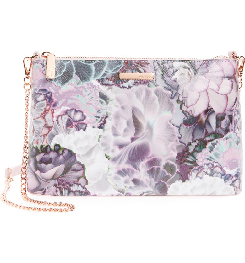 TED BAKER LONDON Illuminated Bloom Leather Crossbody Bag, Main, color, 510