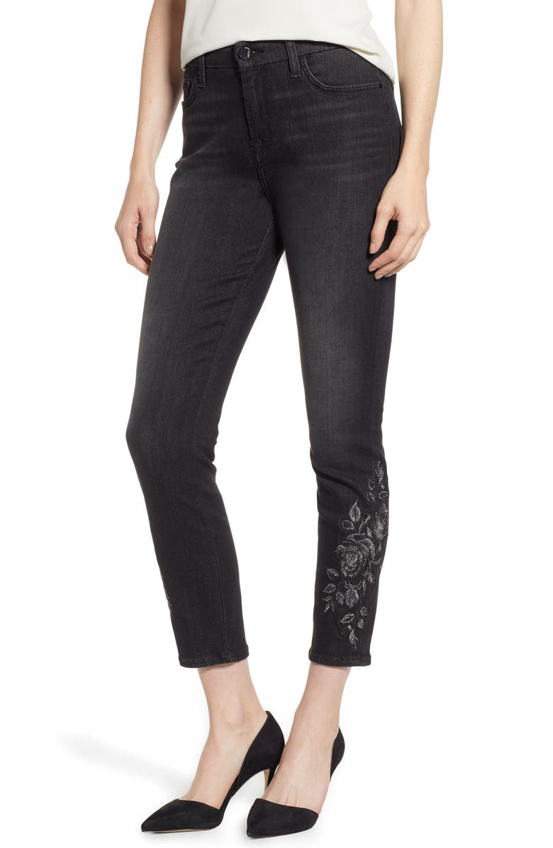 JEN7 BY 7 FOR ALL MANKIND Embroidered Ankle Skinny Jeans, Main, color, RICHE TOUCH AGED BLACK