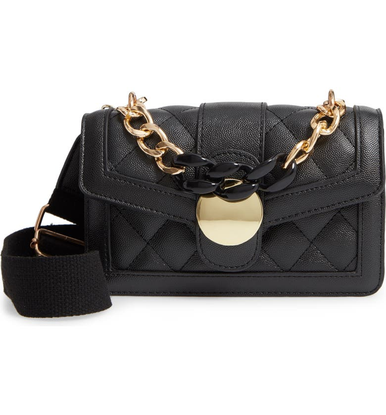 KNOTTY Ombré Faux Leather Quilted Link Handle Crossbody Bag, Main, color, BLACK