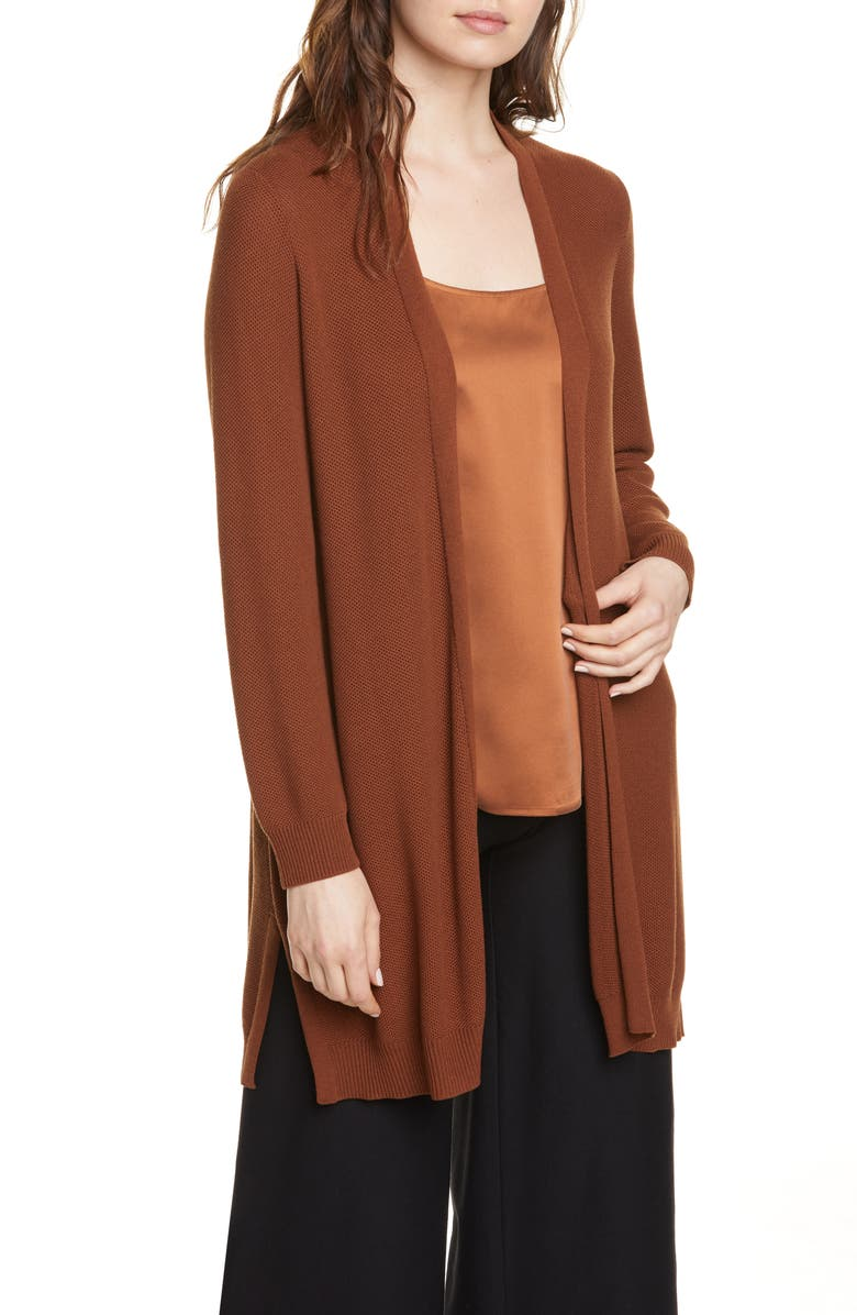 EILEEN FISHER Simple Textured Cardigan, Main, color, NUTMEG