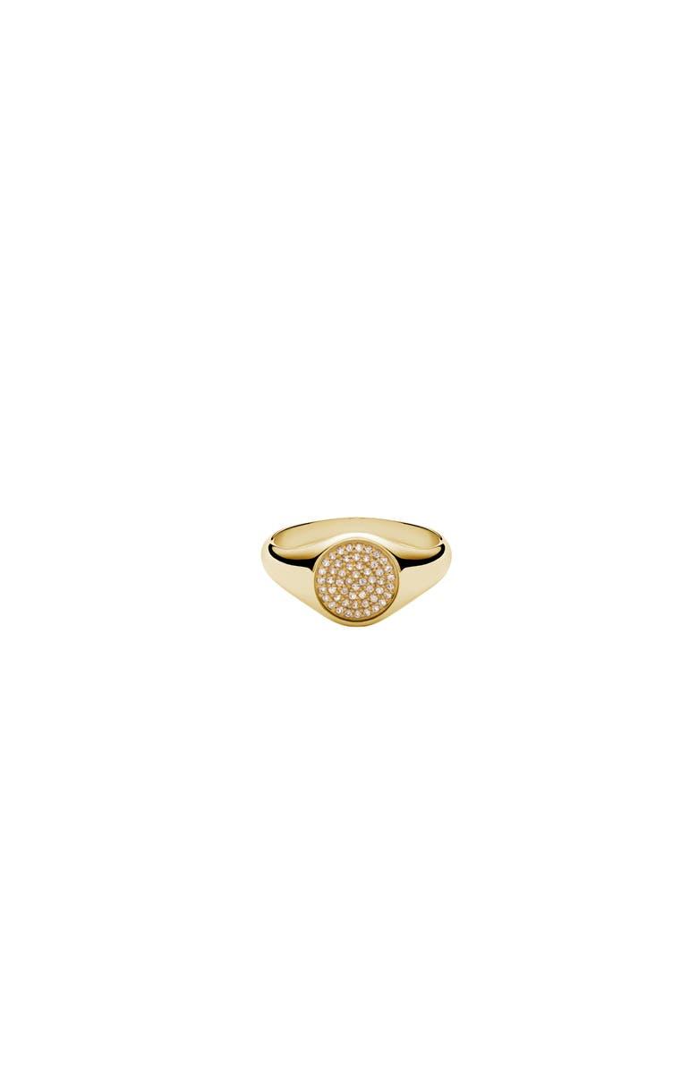 MIANSAI Horizon Sapphire Signet Ring, Main, color, YELLOW GOLD/ WHITE SAPPHIRE