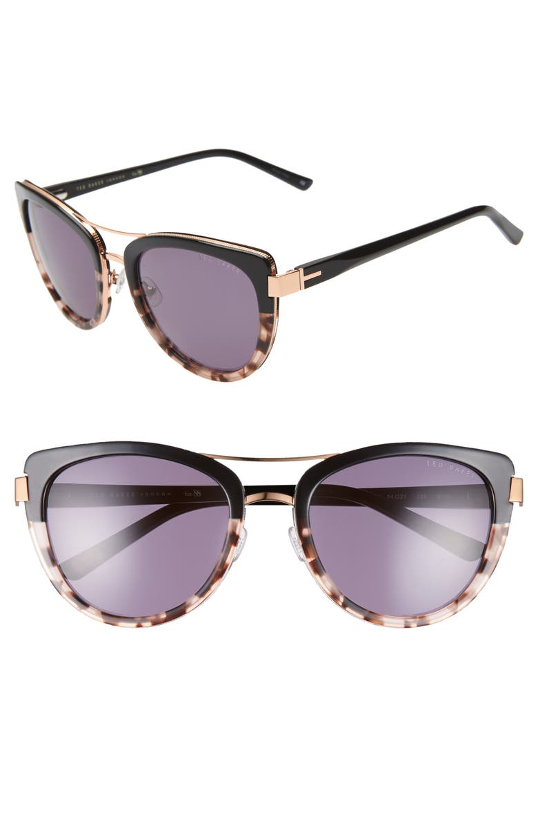 TED BAKER LONDON 54mm Cat Eye Sunglasses, Main, color, BLACK/ GOLD/ PURPLE