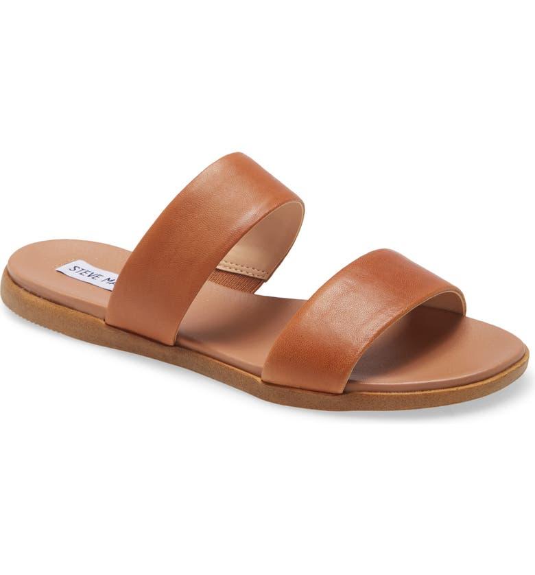 STEVE MADDEN Dual Woven Slide Sandal, Main, color, COGNAC LEATHER