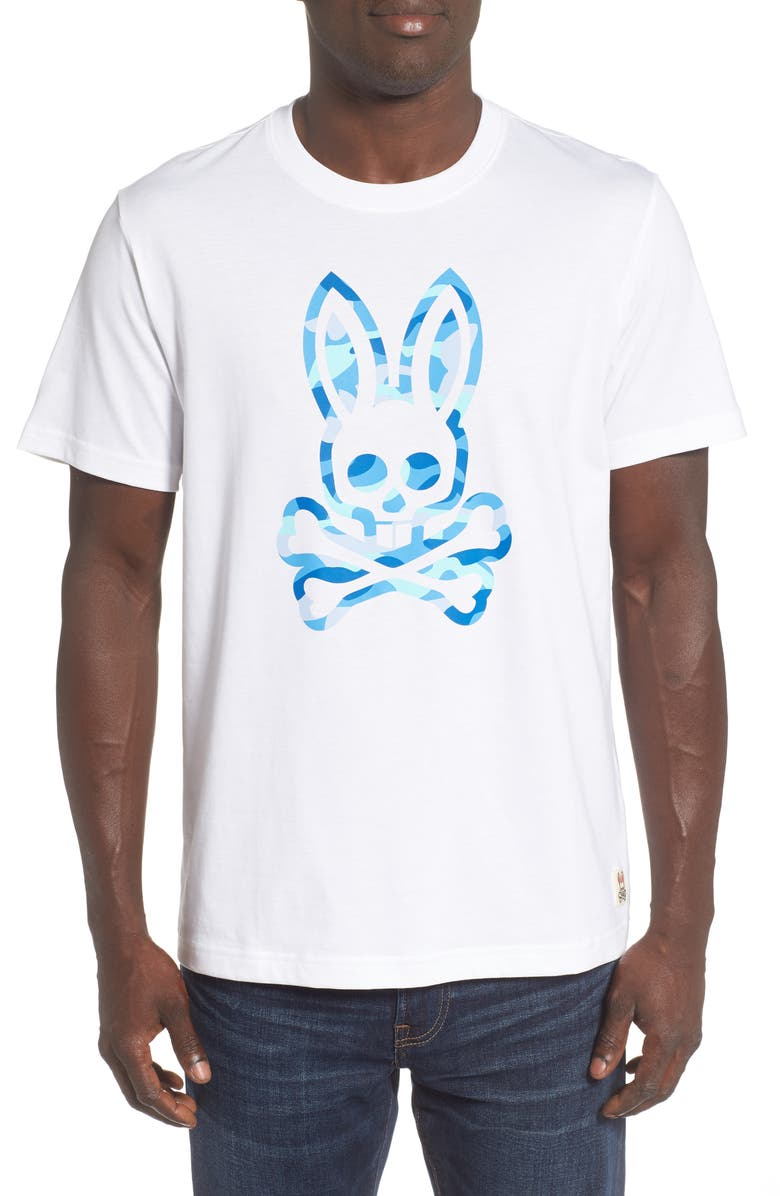 PSYCHO BUNNY Graphic T-Shirt, Main, color, WHITE