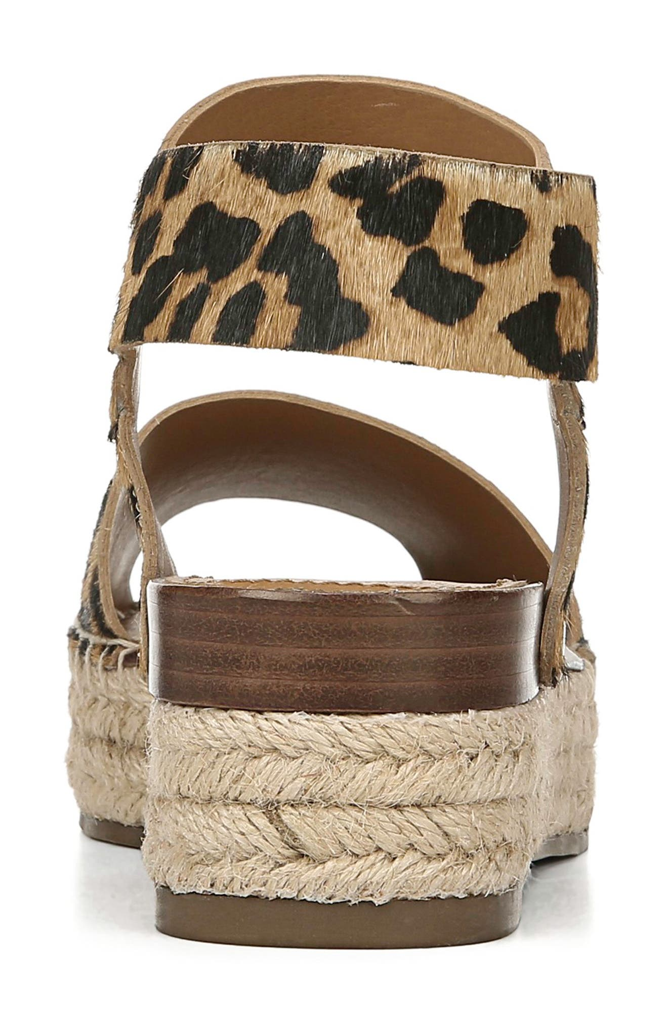 ,                             Oak Genuine Calf Hair Platform Wedge Espadrille,                             Alternate thumbnail 7, color,                             LEOPARD PRINT CALF HAIR
