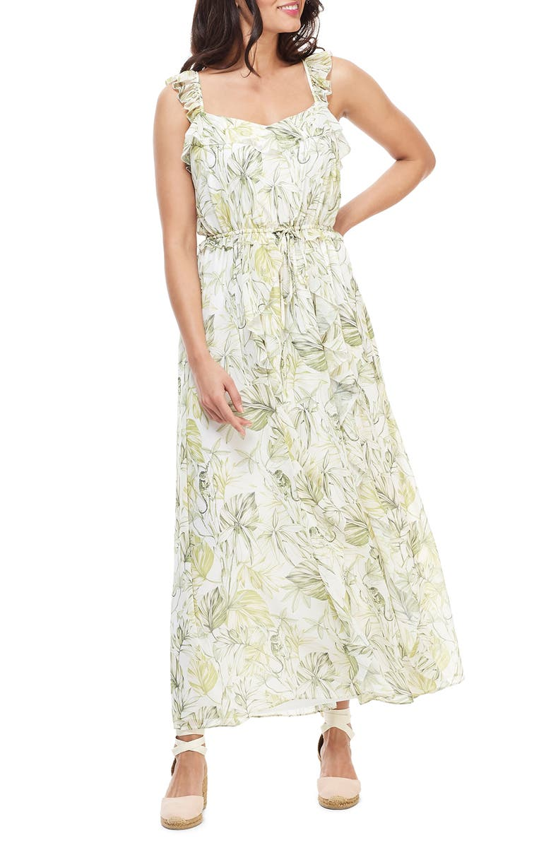 GAL MEETS GLAM COLLECTION Cheryl Crossback Ruffle Maxi Dress, Main, color, FLORAL WHITE/ GREEN