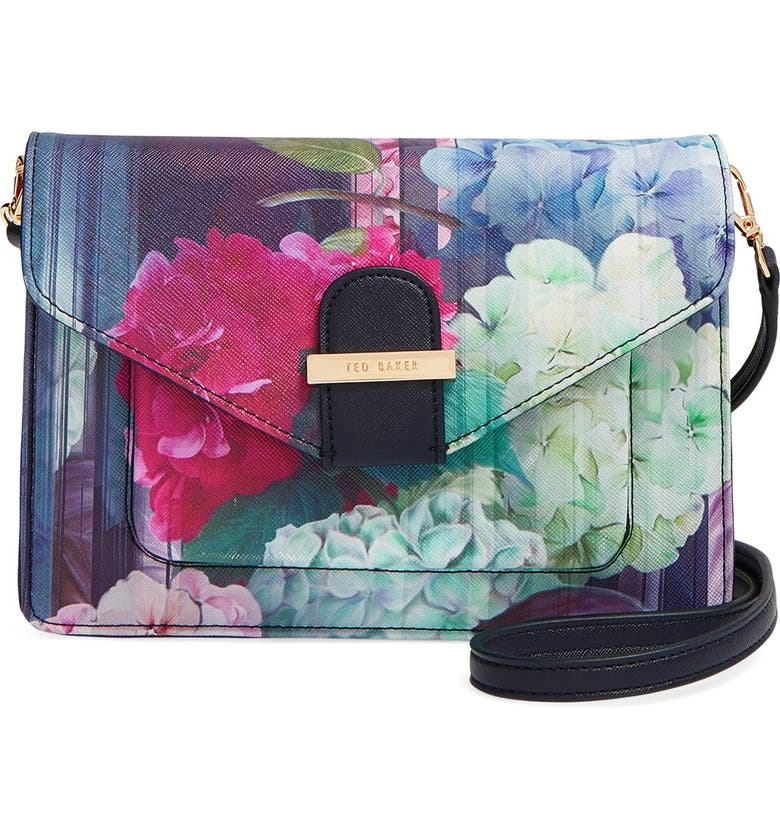TED BAKER LONDON 'Hydrangea' Floral Print Crossbody Bag, Main, color, 400