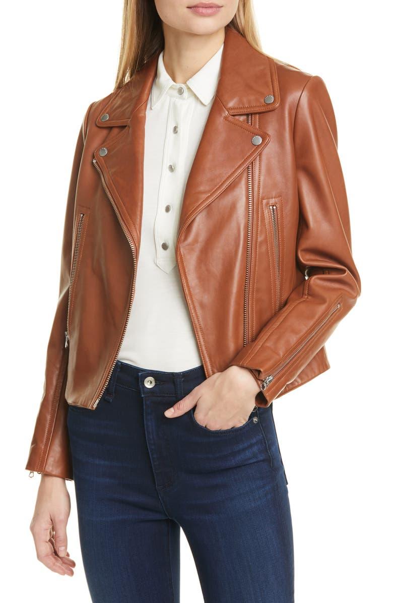 RAG & BONE Mack Lambskin Leather Jacket, Main, color, TANBEIGE