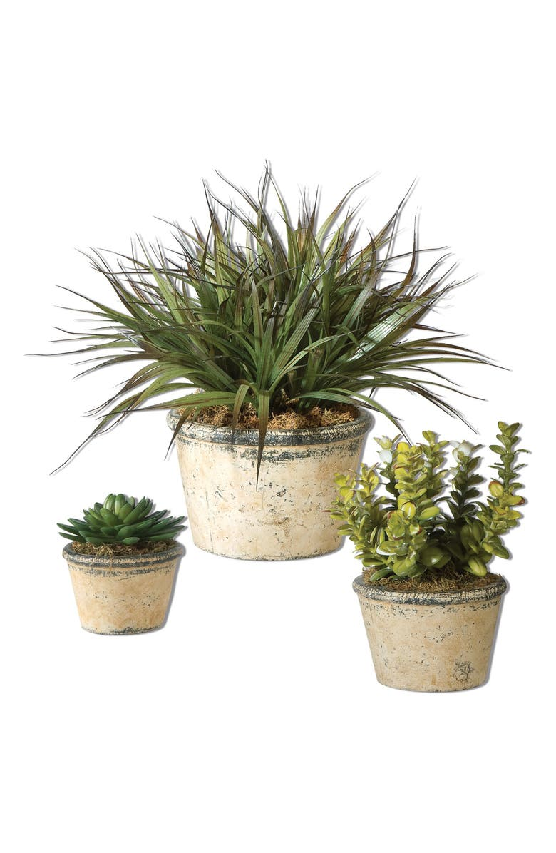 UTTERMOST Set of 3 Faux Greenery Pots, Main, color, GREEN