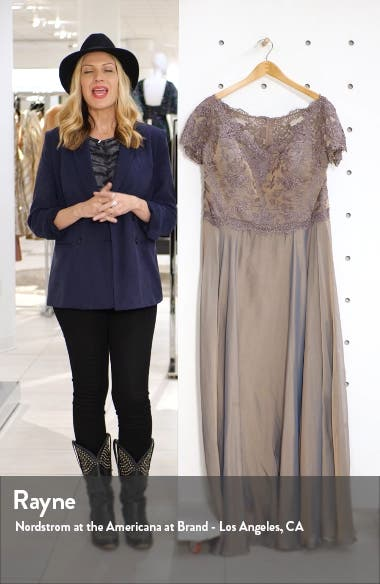 Embroidered Lace & Chiffon A-Line Gown, sales video thumbnail