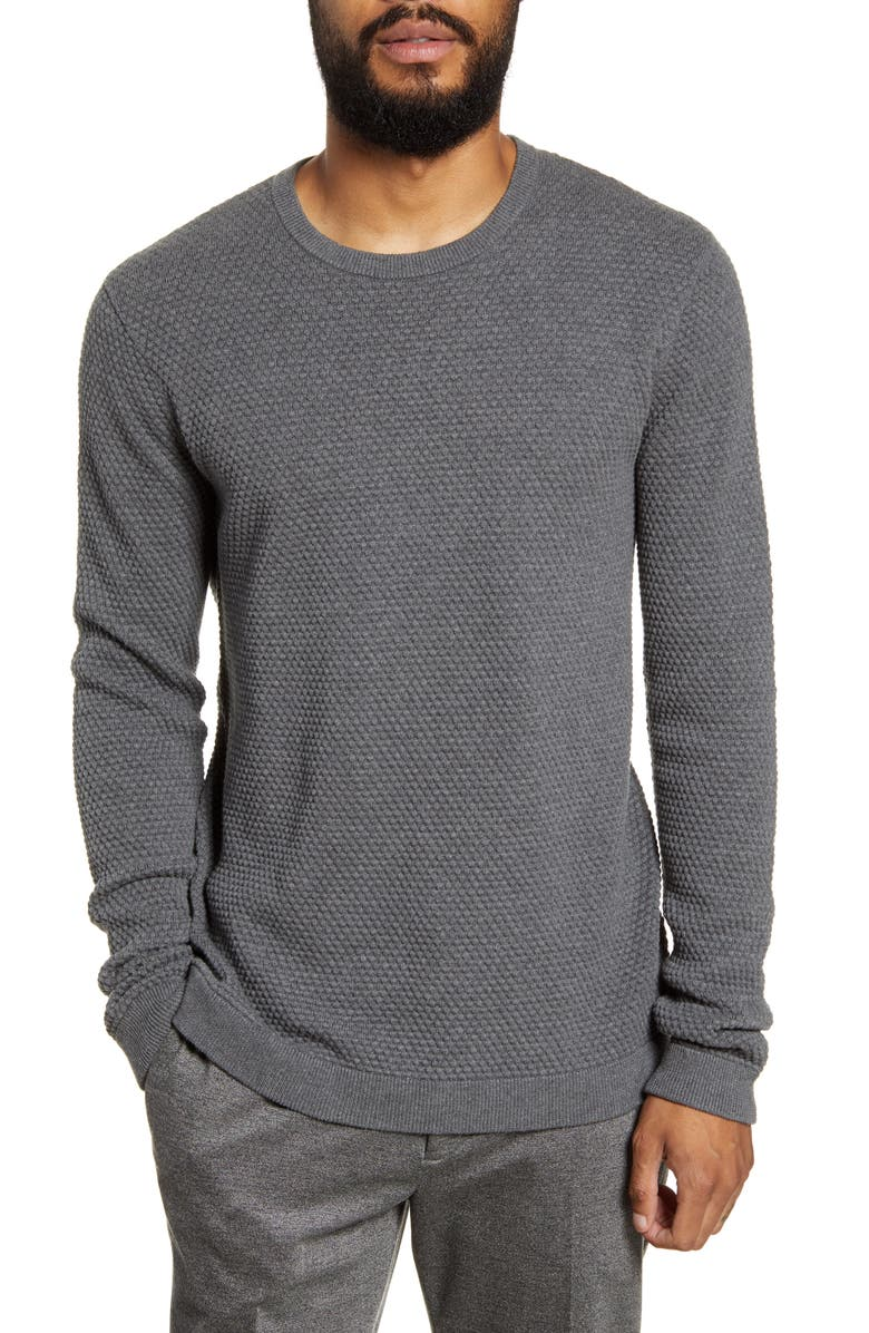 THEORY Udeval Crew Breach Slim Fit Sweater, Main, color, GREY HEATHER