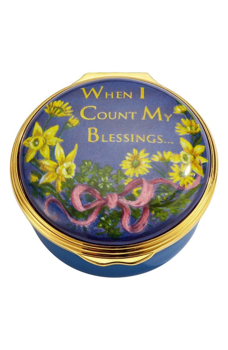HALCYON DAYS When I Count My Blessings Enamel Box, Main, color, BLUE
