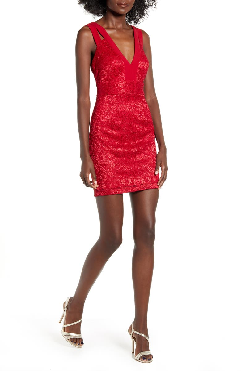 SPEECHLESS Double Strap Lace Sheath Dress, Main, color, RED