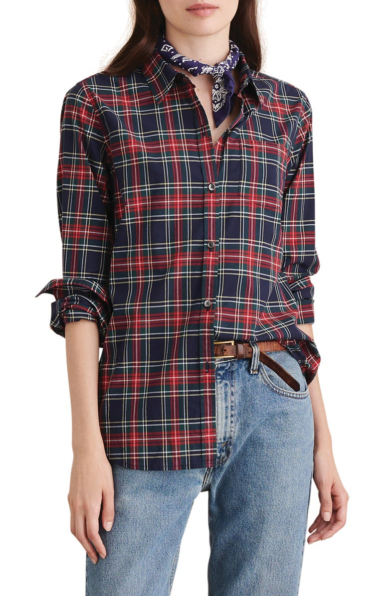 ALEX MILL Standard Plaid Shirt, Main, color, NAVY/ RED/ GREEN