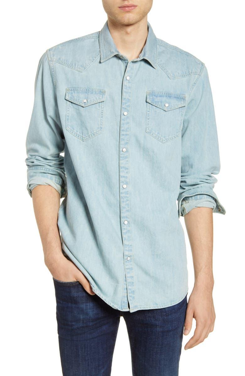 SCOTCH & SODA Denim Snap-Up Western Shirt, Main, color, BLEACHED INDIGO