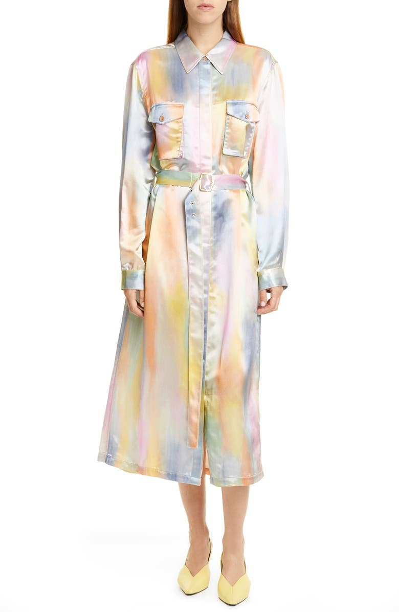 SIES MARJAN Tie Dye Satin Dress, Main, color, MULTI PRINT