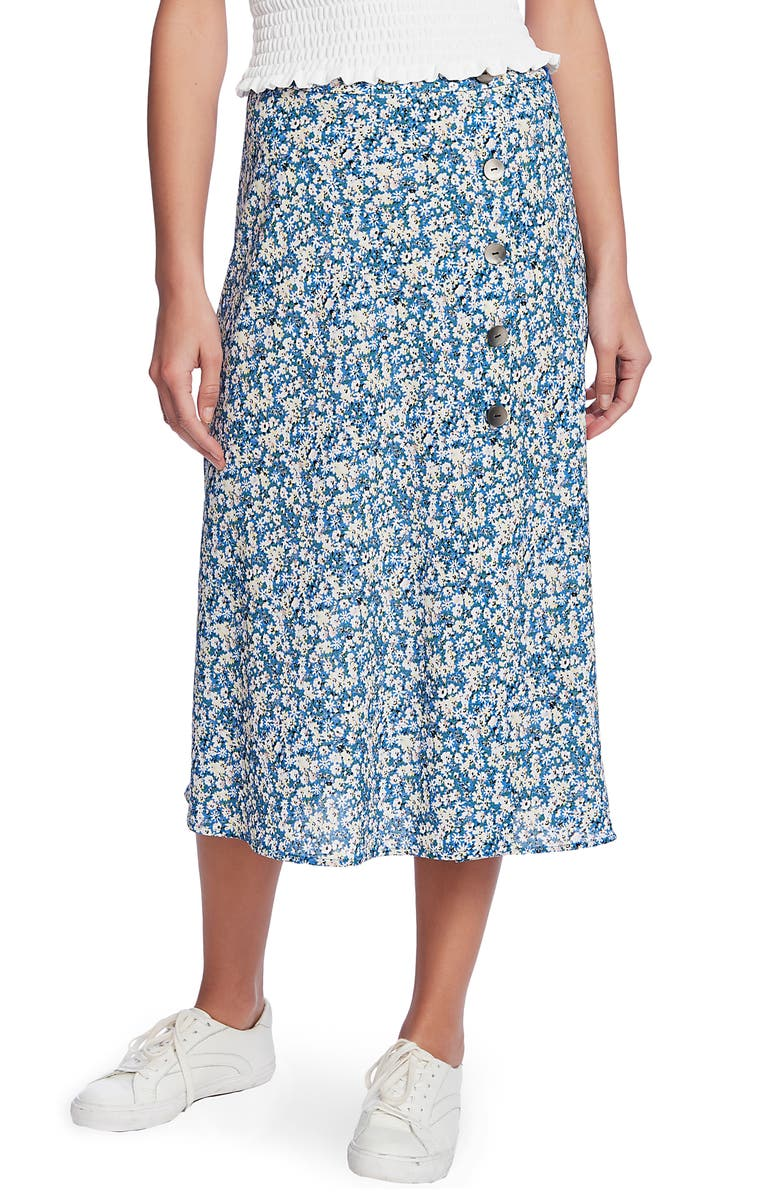1.STATE Soirée Button Front Midi Skirt, Main, color, HARBOR WAVES