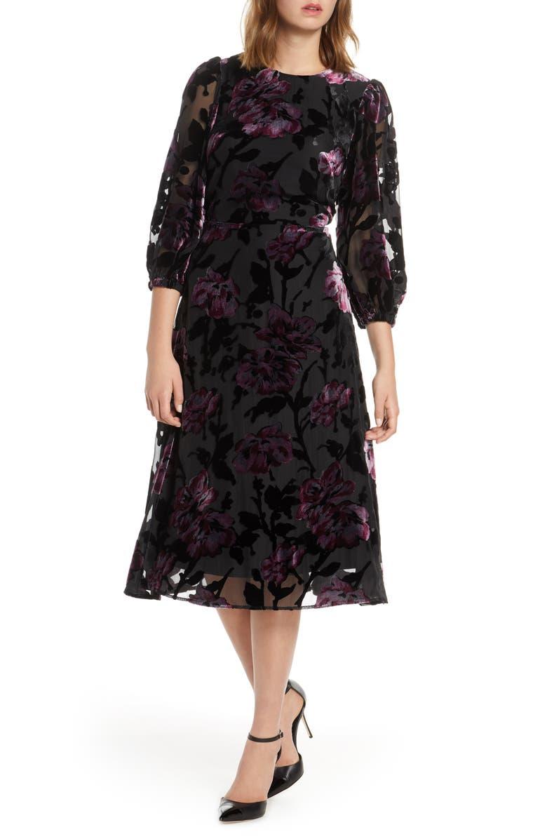 ELIZA J Balloon Sleeve Chiffon Jacquard Dress, Main, color, BLACK