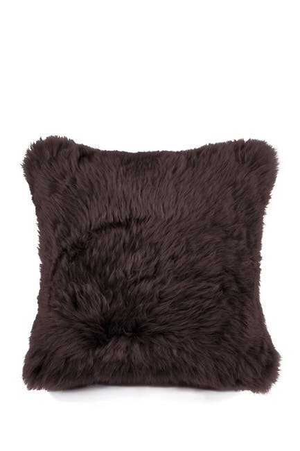 "Image of Natural New Zealand Genuine Sheepskin Pillow - 18""x18"" - Chocolate"