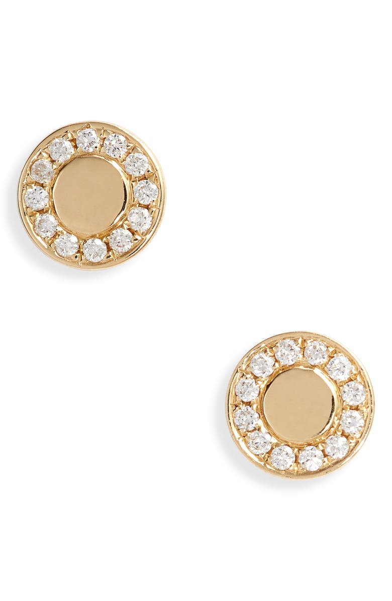 BONY LEVY Kiera Diamond Medallion Stud Earrings, Main, color, DIAMOND/ YELLOW GOLD