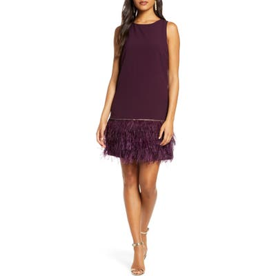 Tahari Feather Detail Sleeveless Crepe Shift Dress, Burgundy