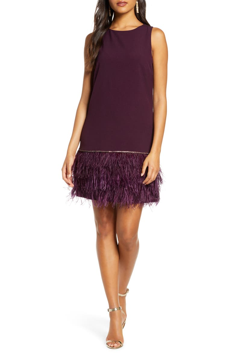 TAHARI Feather Detail Sleeveless Crepe Shift Dress, Main, color, AUBERGINE