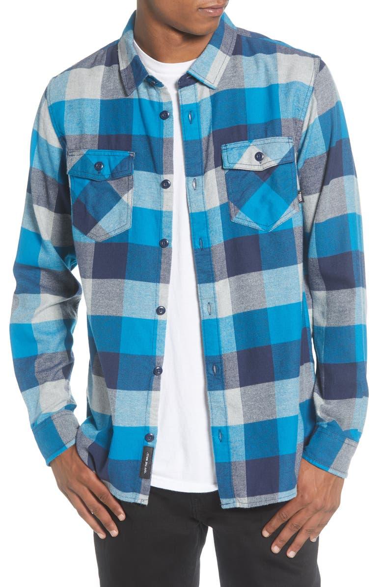 VANS Box Button-Up Flannel Shirt, Main, color, TURKISH TILE/ GREY