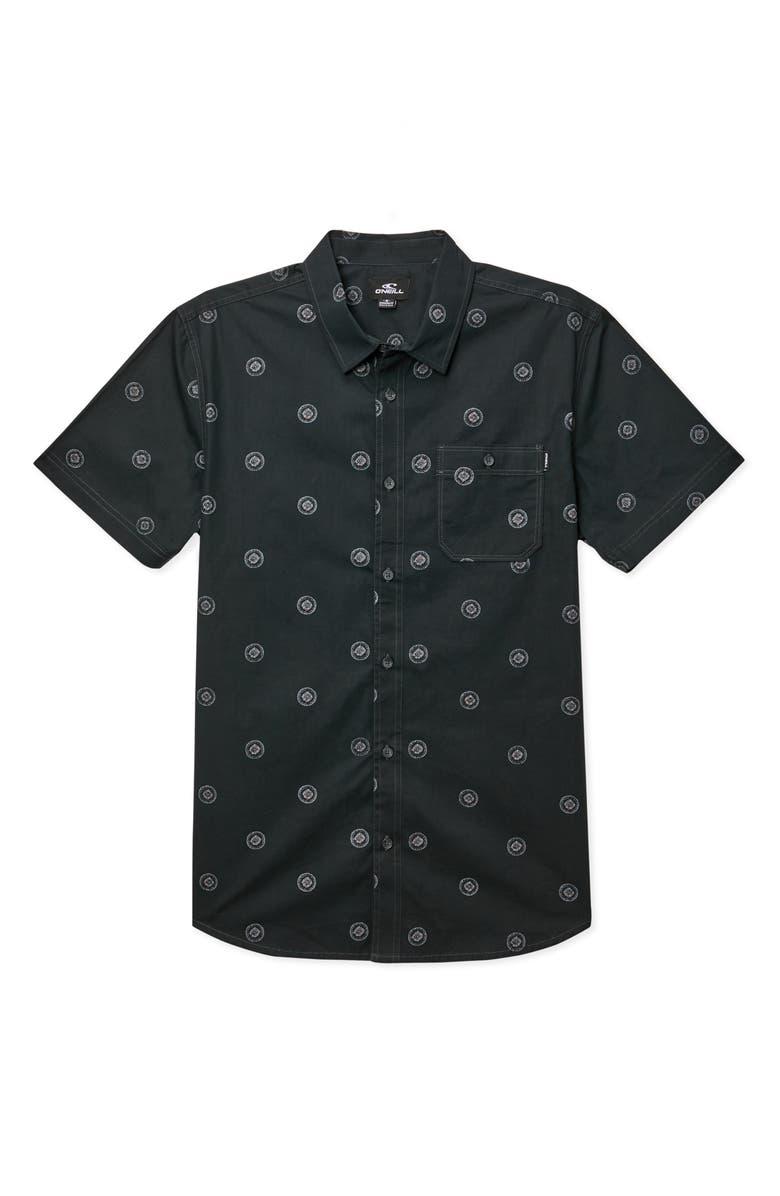 O'NEILL Benny Print Button-Up Shirt, Main, color, BLACK