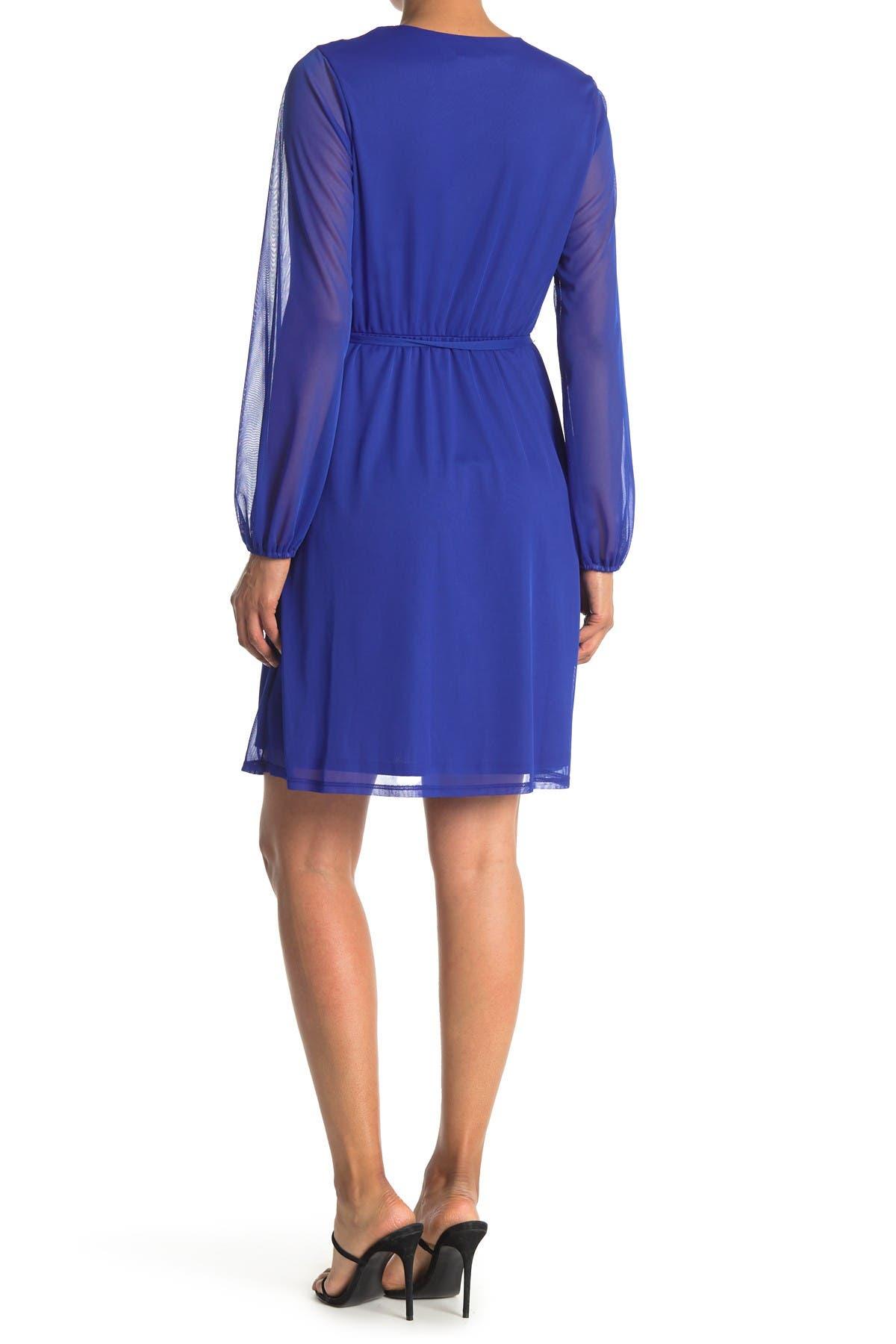 Image of TASH + SOPHIE Long Sleeve Faux Wrap Dress