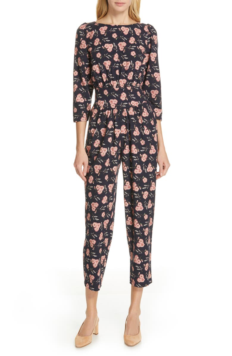 LA VIE REBECCA TAYLOR Adelle Floral Jumpsuit, Main, color, 410
