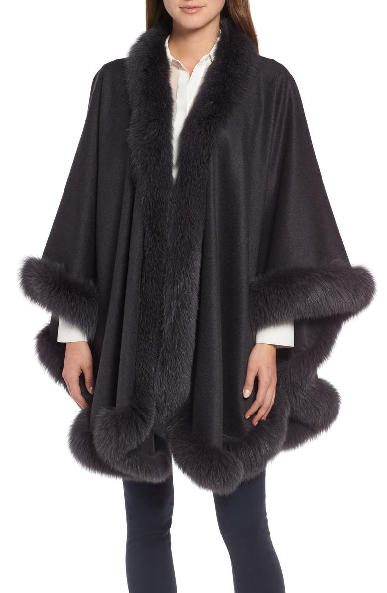 SOFIA CASHMERE Genuine Fox Fur Trim Cashmere Cape, Main, color, CHARCOAL