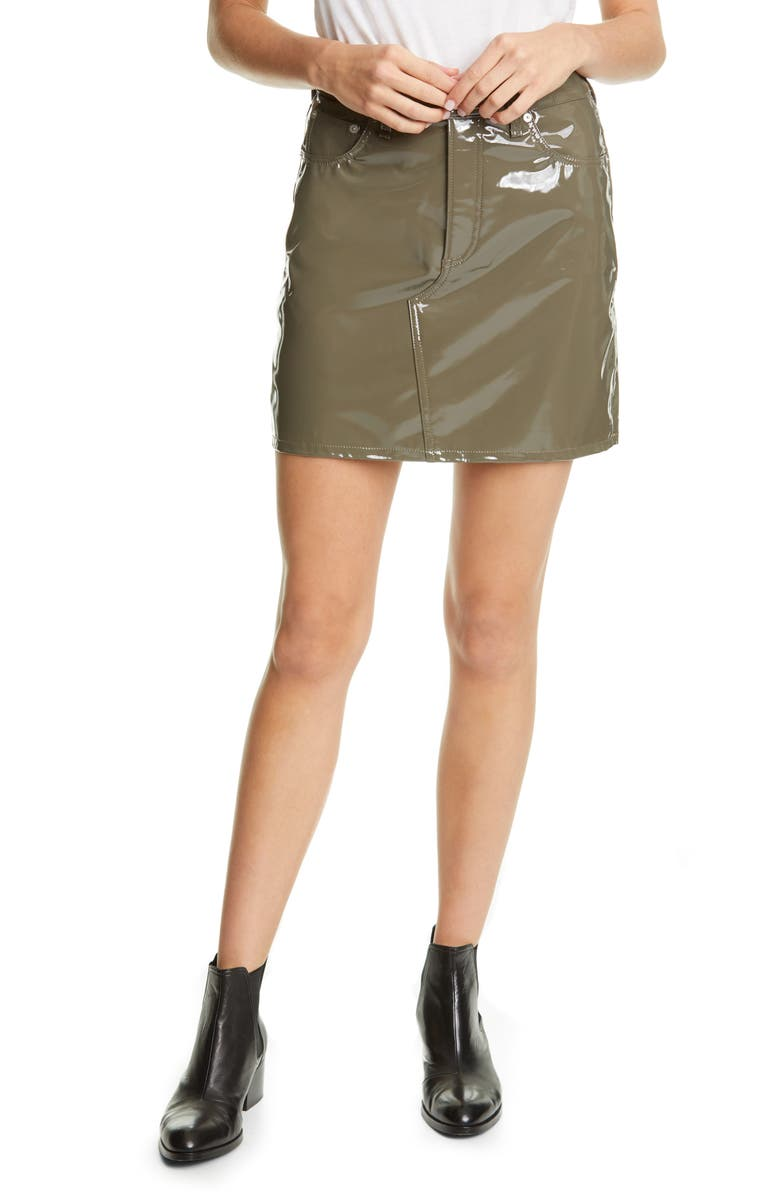 RAG & BONE Hayden Faux Leather Skirt, Main, color, ARMY