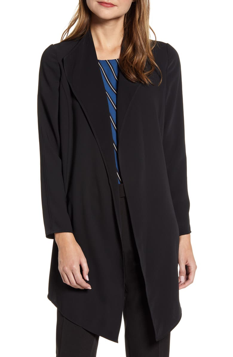 ANNE KLEIN Drape Front Long Jacket, Main, color, ANNE BLACK