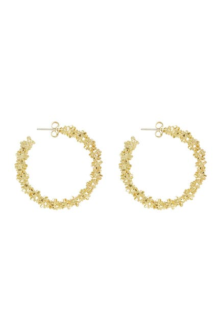 Image of Ettika Gold Tone Abstract Textured Hoop Earrings