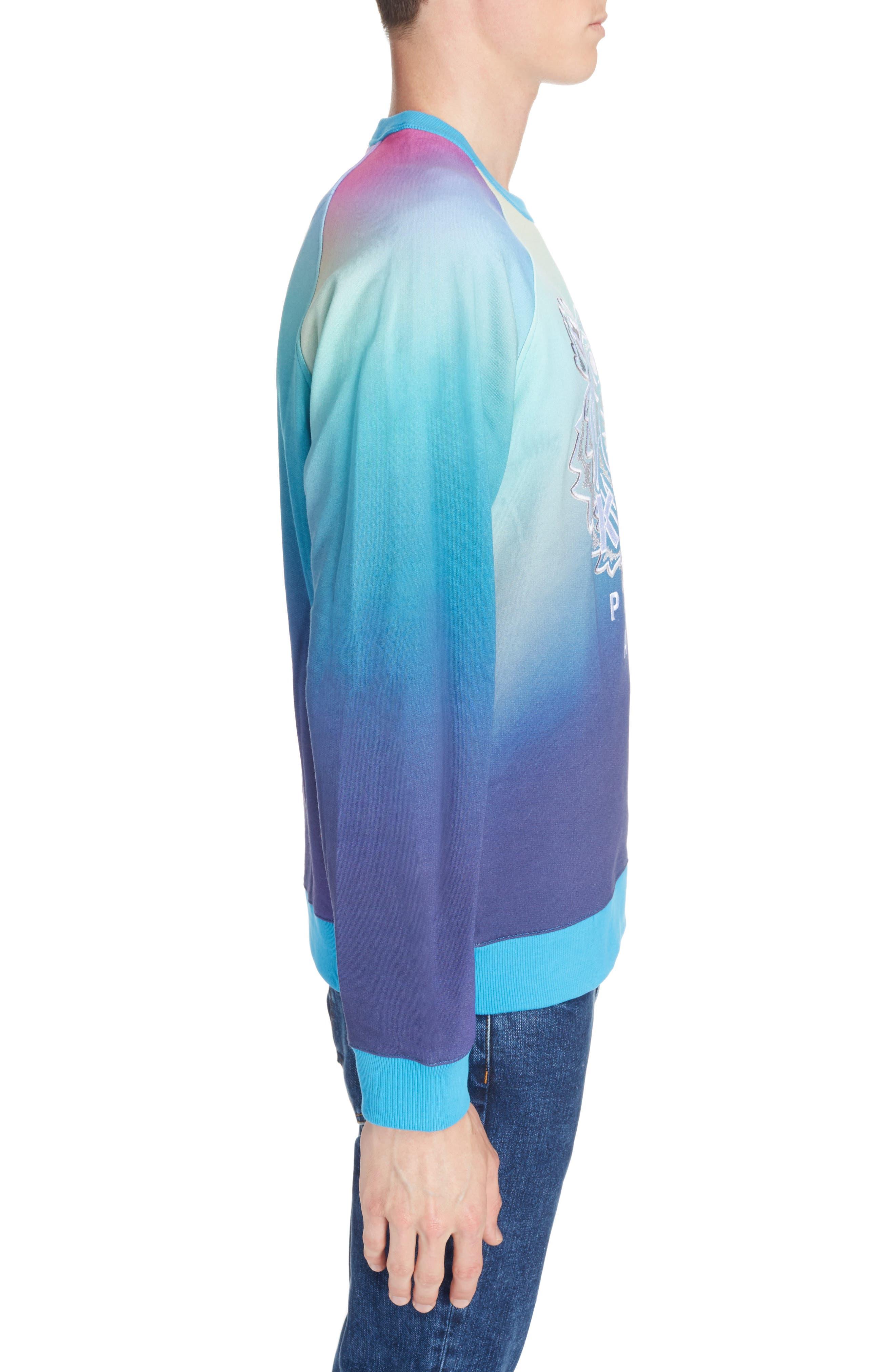 ,                             Rainbow Embroidered Tiger Sweatshirt,                             Alternate thumbnail 3, color,                             CYAN BLUE