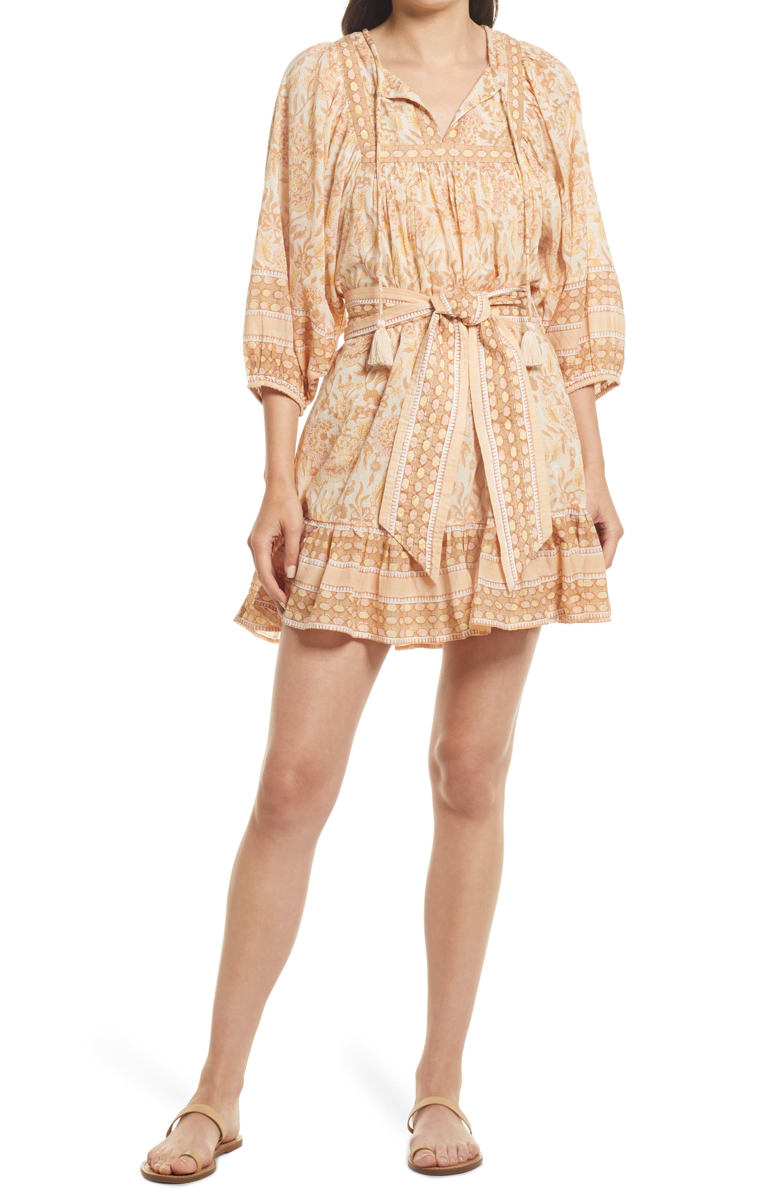 Magdalena Print Belted Organic Cotton Minidress