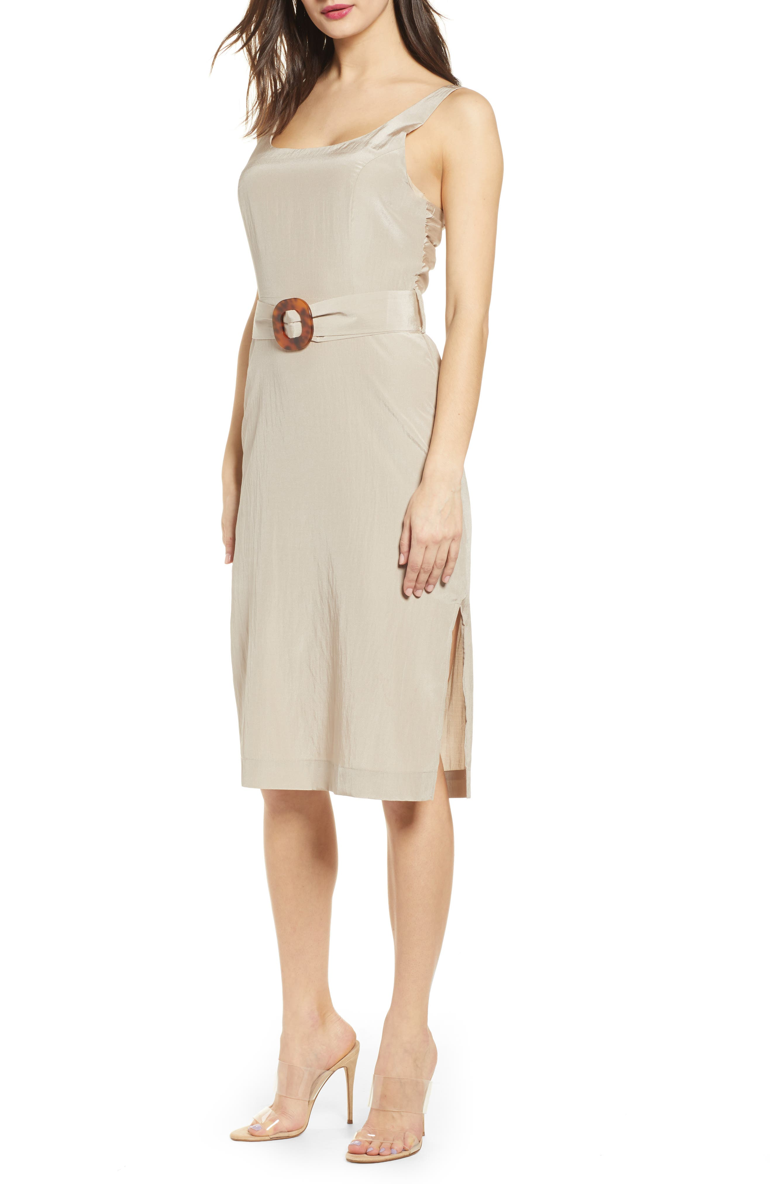 J.o.a. Back Tie Midi Dress, Beige