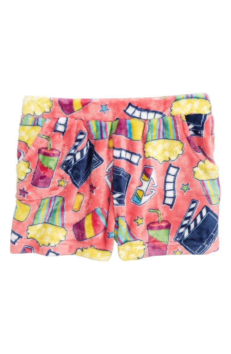 CANDY PINK Movie Fleece Pajama Shorts, Main, color, PINK